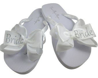 865004e8451b Ivory pearl bling Flip Flops bridal wedding shoes for the