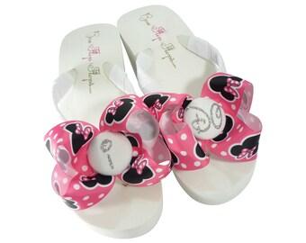 a78628429db Hot Pink Minnie Mouse I DO Glitter Bow Flip Flops