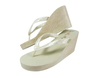 167f91b335d Wedge Wedding Flip Flops- Bride Bridesmaid Glitter wedges in 1.25
