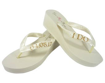 9958b882e Gold   Ivory Glitter and Ivory or White I Do Wedding Date Wedge Flip Flops  for the Bride