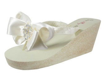 6e54ddd6f3f7cd Vintage Lace Wedding Flip Flops  Satin Bows   Glitter Wedges- champagne   gold silver copper  Ivory white  2 or 3.5