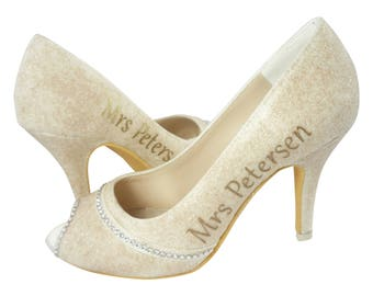 550292c2c233f9 Champagne   Ivory Glitter Bridal Heels with Personalized Last Name and  Wedding Date - 3.5 inch kitten toe - also available in silver or gold