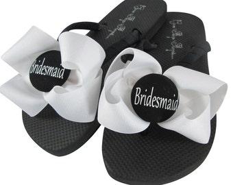 b40dcca4a8675 White Wedding Bridesmaid Flip Flops Choose your custom