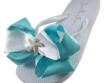 4ef64f1e8ae4f1 Bridal Wedge Flip Flops   wedding flip flops  Starfish Ivory or White   Rhinestone robin s egg blue  Beach Bride platform heel bridesmaids