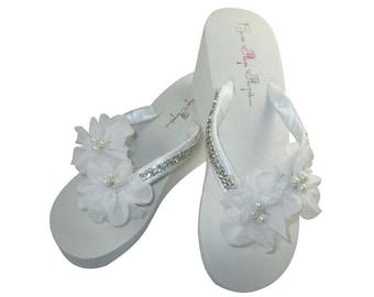 3f47cc641bcc2e Bridal Wedge Flip Flops