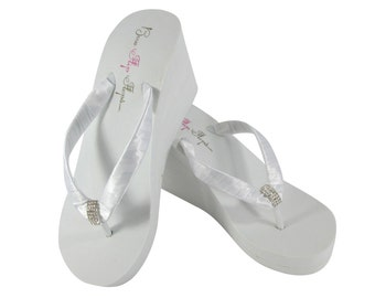 e1c5695c487 Bridal Flip Flops in Ivory or White