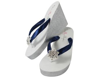 3755b26dc Navy   Silver Glitter Wedding Wedge Flip Flops