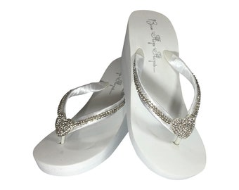 3a49805d4d6309 Heart Diamond Chain Bridal Flip Flops - Wedge Heel with Rhinestone Bling  Straps - Ivory or White - Choose Embellishment - 1.25