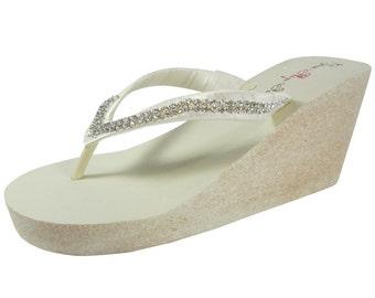 854268fc76efa Ivory   Champagne High 3.5 inch heel Wedge  Glitter Diamonte Wedge Wedding  Flip Flops - Bridal white ivory -