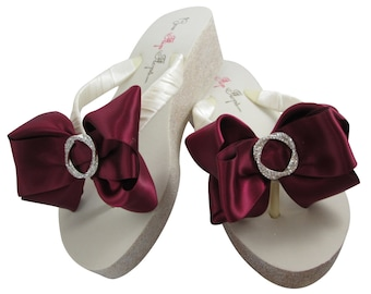 78294bbac41a Infinity circle Wedding Flip Flops with Satin Bling Bows   Glitter Wedges-  champagne  gold silver Ivory white  2 or 3.5