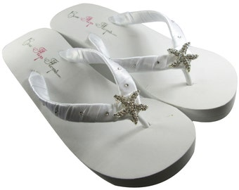 d9fa230abf8dc Starfish bridal Wedge flip flops wedding flip flops for bride  swarovski  crystal rhinestones  white platform ivory wedges  heel bridesmaids