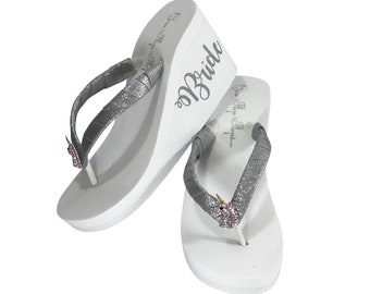 515d324cd67a6 Bride Unicorn Flip Flops - Rhinestone Unicorn Head with Glitter Straps and  Bride on the Side of the Wedge - Silver
