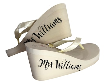 442dac74781aa Ivory High Wedge- or White Low Heel - Wedding Flip Flops with Mrs Last Name  on the Side