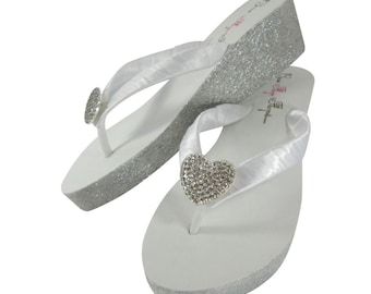 e82ecae67 Round Jewel Glitter Wedge Ivory or White Flip Flops with 2