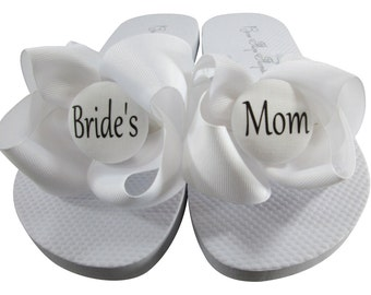 dc0cbc30358c1 Mother of the Bride Flip Flops- White Bows Bride s Mom Flip Flops for the  Wedding  Groom s Mom