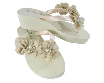 ed2abb29dfde Bride or Bridesmaid Flip Flops with Sweetheart Flowers in Khaki Beige