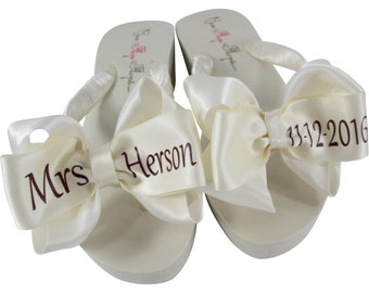 5d343b9d6ff027 Bridal Wedge or Flat Flip Flops with the Burgundy Wedding Date   Last Name