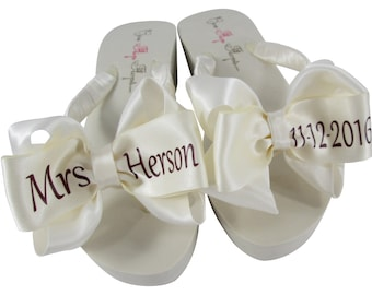 b8cc7f3be0ff6 Bridal Wedge or Flat Flip Flops with the Burgundy Wedding Date   Last Name