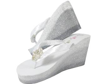 647fa66d17b52c Ombre Glitter Wedge Bridal Flip Flops