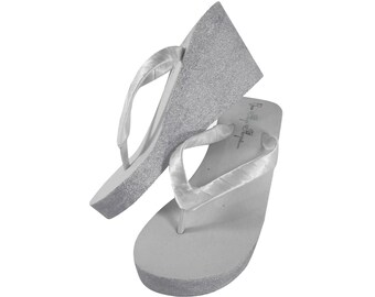 814db10a6eff Silver Bridal Wedge Flip Flops