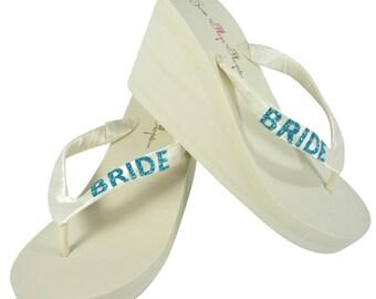 9df7fcedc07b16 Ivory wedge wedding flip flops  white  Turquoise Glitter Bride Flip Flops  wedge-choose color   heel height for the wedding