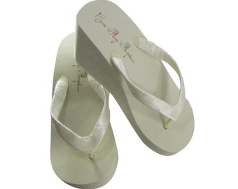 18caaf85fed24 Bridal Flip Flops   High Ivory Wedge Simple Satin Wrapped Straps - Choose  from 1.25 inch - 2