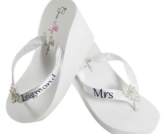 a79a331bab57 Wedding Bridal Flip Flops for Bride   by BridalFlipFlops on Etsy