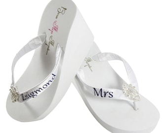 6cc70e725 Wedding Bridal Flip Flops for Bride   by BridalFlipFlops on Etsy