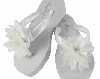 26429508ff57c White   Ivory Lace Chiffon Wedding Flip Flops for the Bride   Bridesmaids