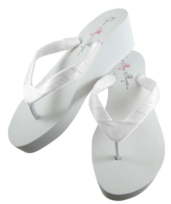 White Satin Bridal Bride wrapped your Jade straps Ivory Wedding Design Wedge Plain Shoes Colors Many Flip Flops Sandals 0xwBxqAf