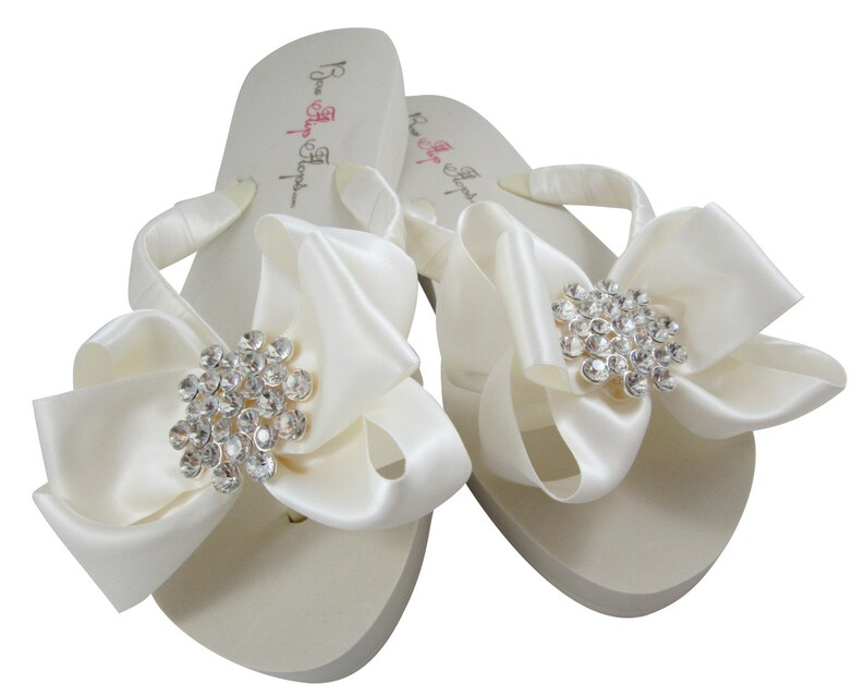 e9630dbe1 Wedding flip flops Jewel Bridal Flip Flops Ivory Wedge bow