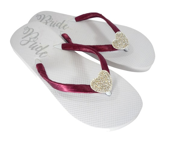 with Satin Wine Silver Flop Personalized Sandals Flip Bride Rhinestone Embellished amp; Shoes Straps Red Heart Wedding Bling for wwqaASP