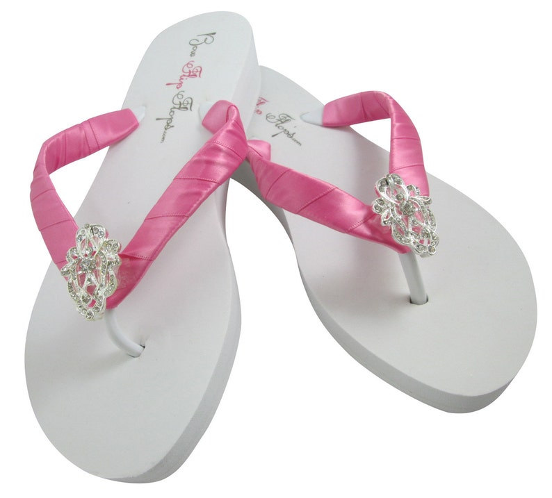 ac6ca4d23209b Ships in 5 DAYS - RUSH Bridal Wedge Flip Flops- Many Colors- Wedding Flip  Flops- Ivory Lace Rhinestone Bling White Bride Bridesmaids