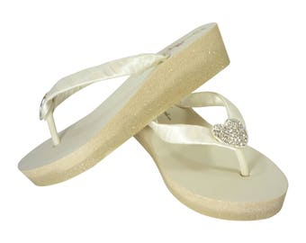 Bridal Flip Flops in Champagne Ombre Glitter Wedge Ivory with Heart Rhinestone Bling & Satin Straps