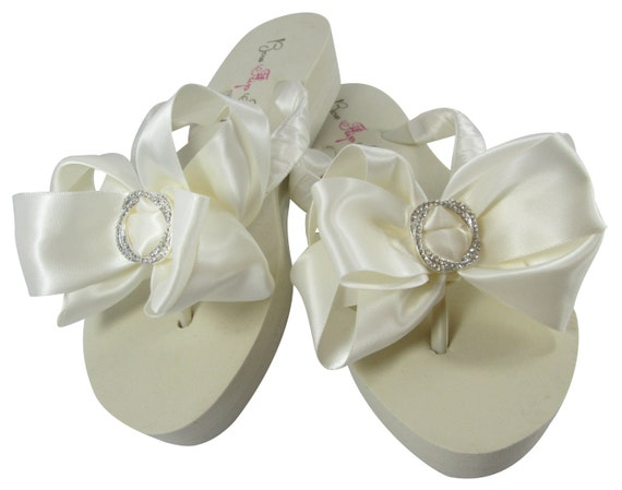 7ea15e3d0 Wedding platform Bride Flops bridesmaids Ivory Bow Infinity brides Circle  Wedge Ribbon Satin Wedding Flip Rhinestone White Bridal heel 76qAfw