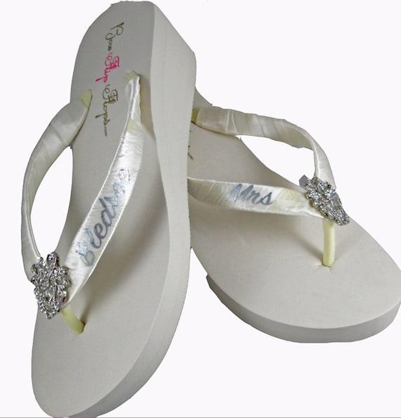 Bridal Flip Sandals Heart Straps Flops Black Personalized rhinestone Flops embellishment Flip White Wedding Ivory Mrs Platform Wedge frvpfq
