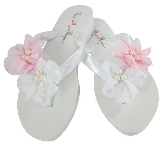 amp; Chiffon Gift flip custom Bride flower Flops colors Pearl flops Wedding sandals White shoes Choose any Bridesmaid Pink Flip dnCFdq