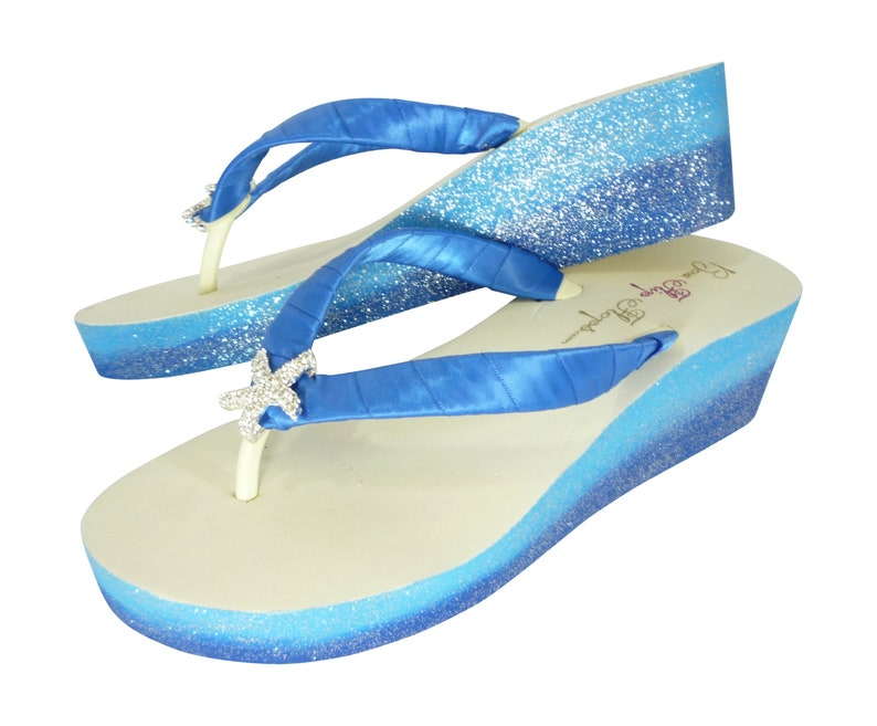 dd0f11d77 Royal Blue   Light Blue Starfish Ombre Glitter Flip Flops