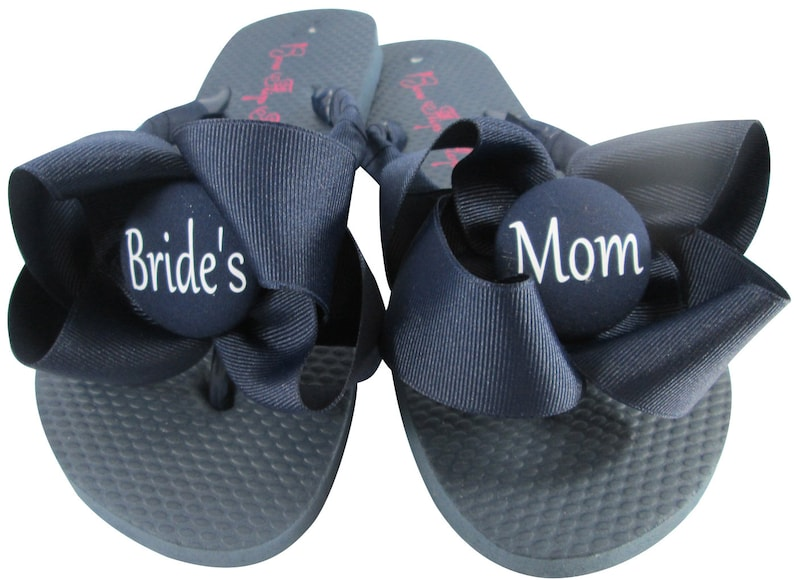 a00e55a4f Wedding Flip Flops with Navy Bows   Bride s Mom or