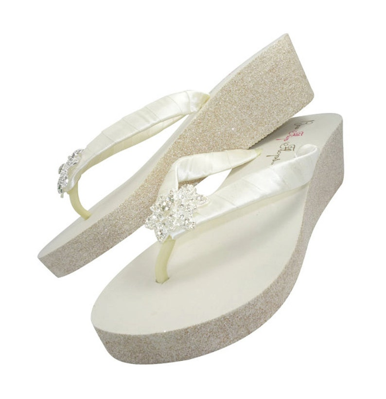 7233a01b3 Wedge Heel Flip Flops for the Bride Wedding Glitter Sandals