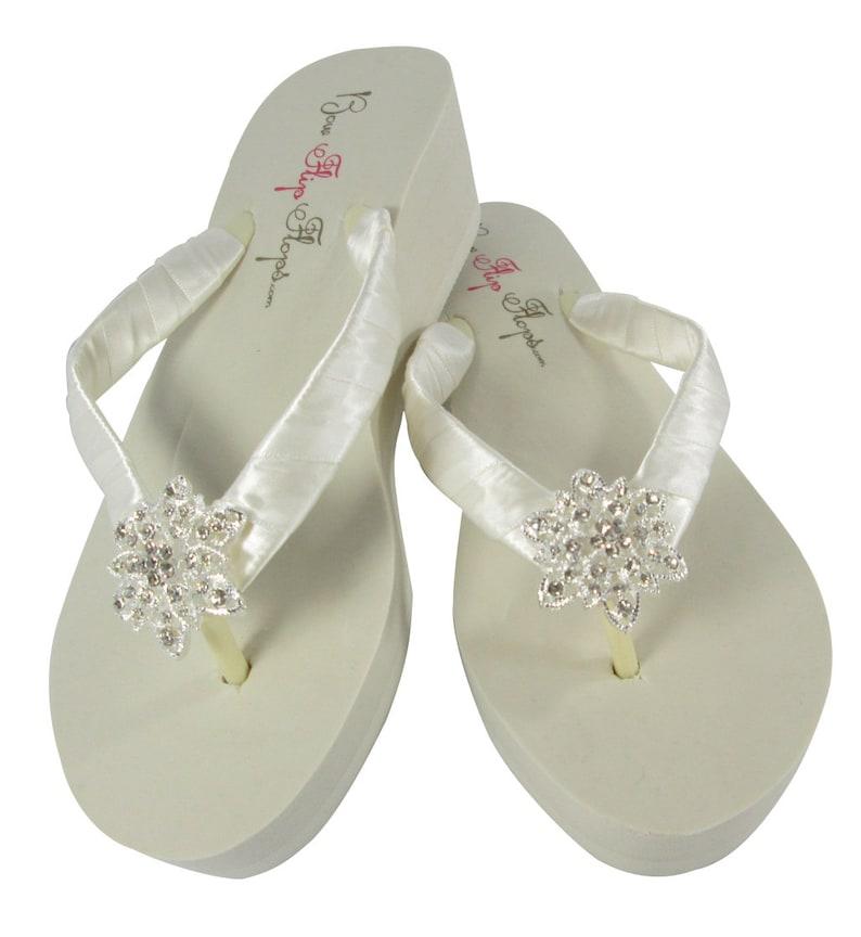 78a1e743eea0 Bridal Bride Flip Flops Satin vintage flower bling wedding