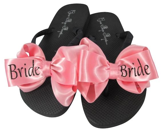 f68f53b4a87a1 Black Glitter Bride on Rose Pink Bow Flip Flops Satin Wedding