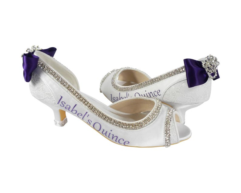 4325a8302942c Quinceanera Personalized Princess Peep Toe High Heel Shoes or