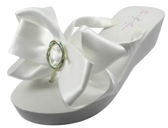 fb192168ee ... Wedding platform Bride Flops bridesmaids Ivory Bow Infinity brides  Circle Wedge Ribbon Satin Wedding Flip Rhinestone ...