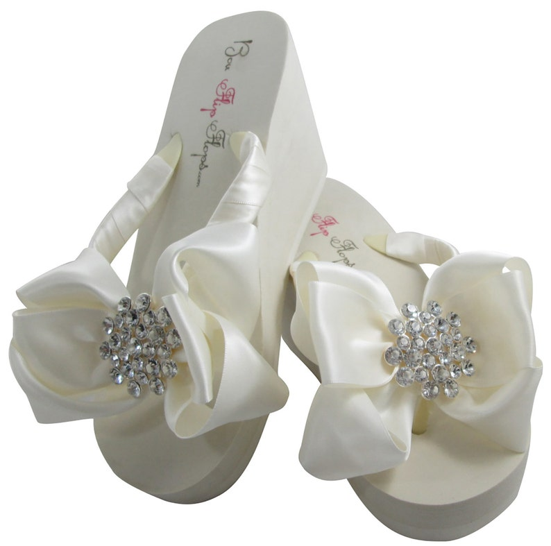 f0287dd08 Ivory White Bridal Flip Flops Wedding Wedge Flip Flops with