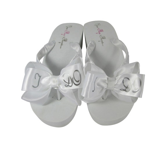 color Satin Ivory Flops bridal shoes I silver or Flip Wedge DO in White any or custom in Bow Designed lettering Zwfnvpxf