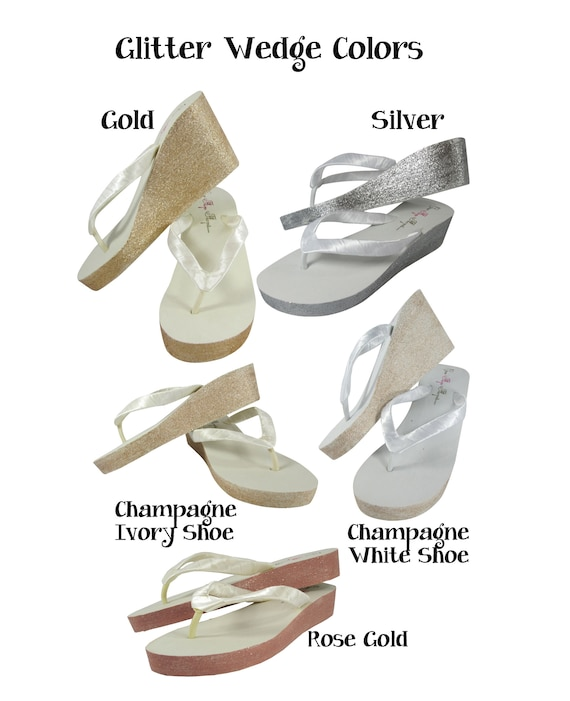 Champagne Gold Flower White Sparkle Silver Wedge Rhinestone Pearl Tulle Bridal Glitter Rose Flower Flip Ivory Flops Mrs or Gold ZS56qzxwn