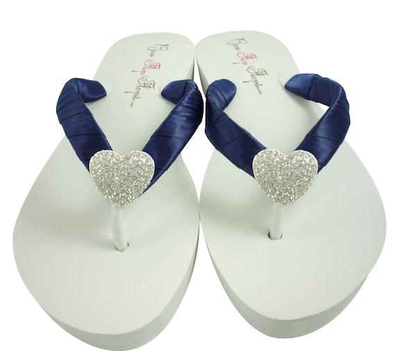 82a39fc1a349 Heart Wedding Flip Flops Bridesmaid Flip Flops Navy Blue