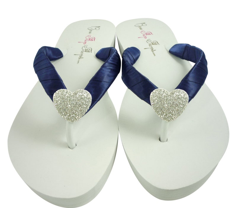 f0a822a239f7f Heart Wedding Flip Flops Bridesmaid Flip Flops Navy Blue