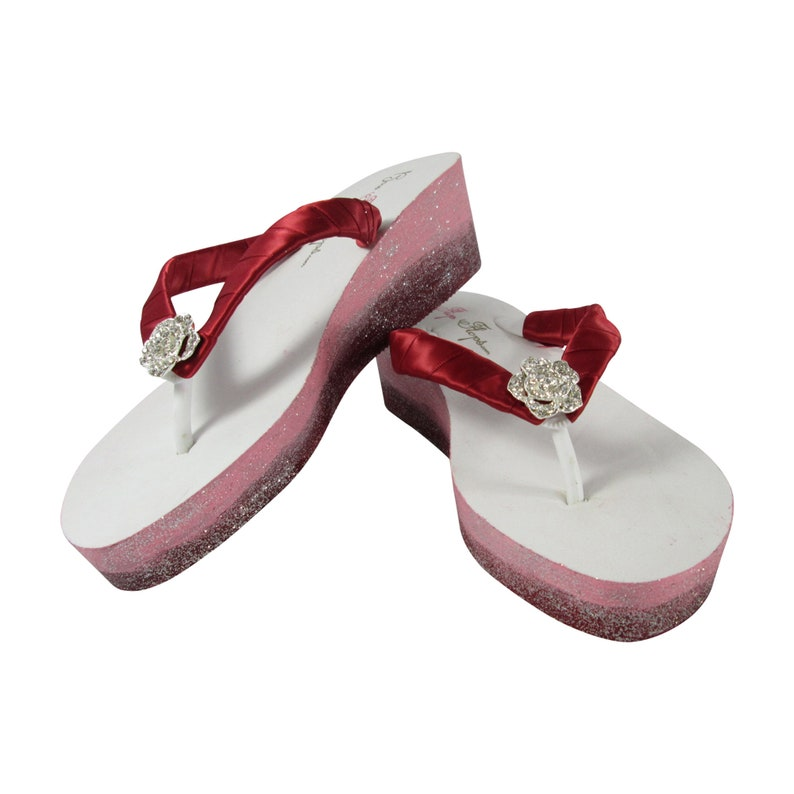 Teens Scarlet with Bling Rose Bride or Bridesmaids Wedges with Rhinestone Embellishment Red /& Pink Ombre Glitter Flip Flops